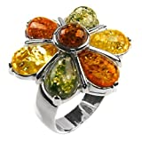 Multicolor Amber and Sterling Silver Large Flower Ring, Sizes 5,6,7,8,9,10,11,12