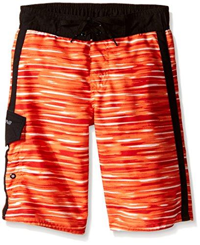 Laguna Big Boys Breakwater Boardshort, Orange/Black, 14/16