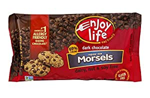 Enjoy Life Dark Chocolate Regular Size Morsels, Net Wt 9 OZ Per Package, Multi-Pack of 4 Packages. Dairy-Free, Nut-Free, and Soy-Free Chocolate Chips. 69% Cacao. Certified Gluten Free. Made In A Dedicated Nut And Gluten-Free Facility.