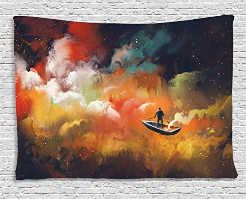 (Fantasy Art House Decor Tapestry by Ambesonne, Man on a Boat Floating Nebula Cloud in Colorful Psychedelic Background, Wall Hanging for Bedroom Living Room Dorm, 80WX60L Inches, Multi)