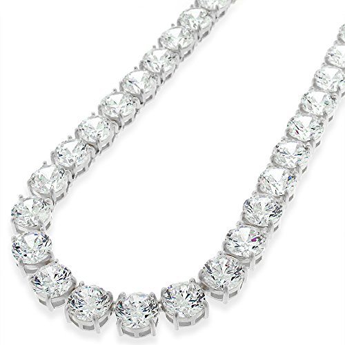 Sterling Silver 7mm Brilliant-Cut Clear Round CZ Solid 925 White Tennis Necklace 20'' - 30'' (24) by In Style Designz