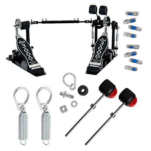 Drum Workshop DWCP3002 Double Bass Pedal Deluxe Bundle Includes 2 Flyweight Beaters, 2 Spring with Felts Inserts, 2 Drum Key Screws and Rocker Assembly with Bearing (K2 Insert Screw Kit)