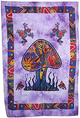 Purple Animal Frog Print Indian Textile Wall Hanging Home Decor Tapestry Poster