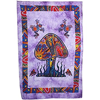 Shubhlaxmifashion Psychedelic Mushroom Tapestry Frogs Magic Shrooms Tapestry Dorm Tapestry Hippie Tapestry Wall Hanging Fantasy Bohemian Poster Trippy Animal Wall Art