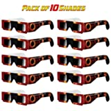 Solar Eclipse Glasses - 10 Pack - Certified ISO 12312-2 - Safe Shades for Direct Sun Viewing - by EazyClips