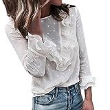 Zainafacai Women's Ruffle Shirt Long Sleeve Chiffon Casual Blouse Elegant Loose Sheer Tops