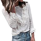 Women Lace Polka Dot O-Neck Sweet Long Sleeve Tops T-Shirt White