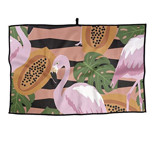 (Shadidi Papaya Pink Flamingo Microfiber Golf Towel Golf Clubs Cleaning Towel 15