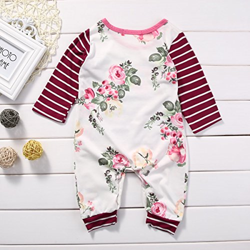 Newborn Baby Girls Long Sleeve Striped Flower Print Romper Hoodie with Pocket (12-18months, White)