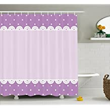 Mauve Decor Shower Curtain by Ambesonne, Old Fashion Ornate Lace Pattern with Classical Polka Dots Background Image, Fabric Bathroom Decor Set with Hooks, 70 Inches, Lilac Lavender