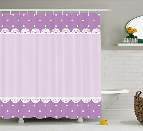 Ambesonne Mauve Decor Shower Curtain, Old Fashion Ornate Lace Pattern with Classical Polka Dots Background Image, Fabric Bathroom Decor Set with Hooks, 70 Inches, Lilac Lavender ()