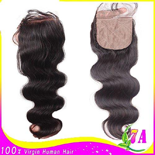 7A Bleached Knots 18'' 4''x4'' Silk Base Closure Philippines Free Part Virgin Human Hair Body Wave Natural Colour by DaJun