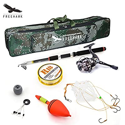Telescopic Fishing Rod Poles Kit,Travel Spin Spinning Rod and Reel Combos with Reel Line Lures Hooks Saltwater Fishing Pole