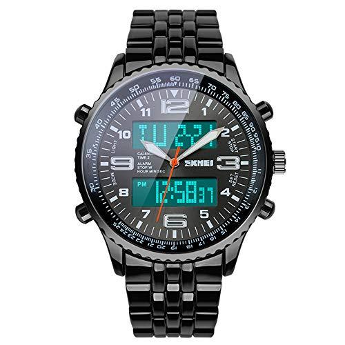 SKMEI Mens Wrist Watch Analog Digital Watch Stainless Steel Waterproof LED Military Watches for Men