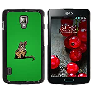 Paccase / SLIM PC / Aliminium Casa Carcasa Funda Case Cover para - Popular Rat Sweet Chees Lonely Rodent Cartoon Comic - LG Optimus L7 II P710 / L7X P714