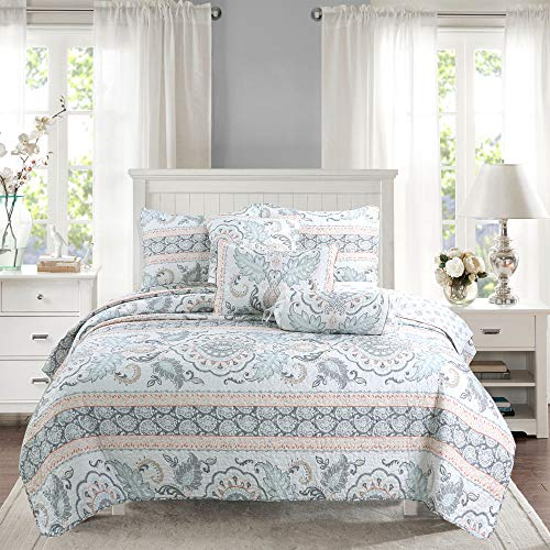 Cozy Line Home Fashions Aqua/Coral/Gray Reversible Bedding Quilt Set, Bedspread, Lightweight Coverlet Quilt for Spring and Summer, 1 Quilt and 2 Pillow Shams (Leaf Geometric, King – 3 Piece)