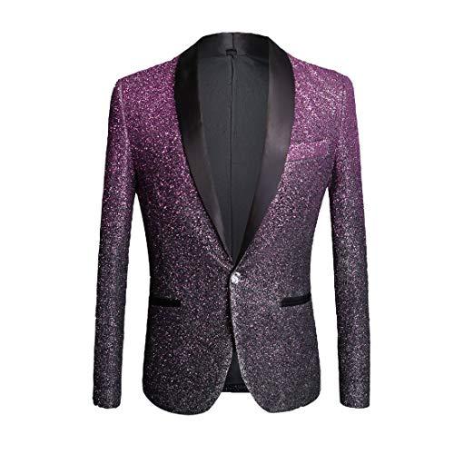 (PYJTRL Mens Fashion Gradient Color Shiny Powder Blazer Suit Jacket (Purple, US 40R))