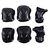 Selighting Protective Gear Set for Adults Teens Kids - Knee Pads / Elbow Pads / Wrist Guards for Skateboarding Biking Riding Cycling Scooter Rollerblading Roller Skating - 6 pcs Street Sports Protective Pads (Black/Blue, M)