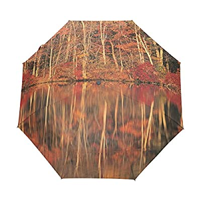 Leezone Rainforest Woods Printing High-Grade Automatic Triple Folding Umbrella cheap