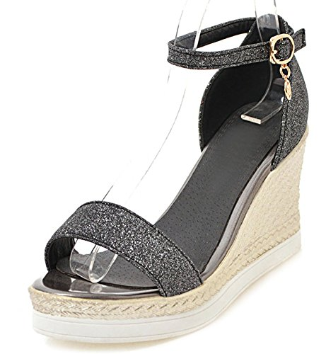 Aisun Women's Chic Ankle Strap Sequins High Wedge Heels Sandals with Platform Black