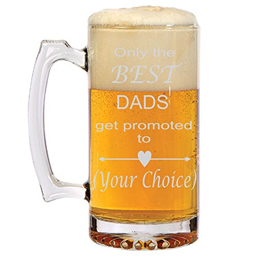 Only the BEST DADS get promoted to Grandpa, Pops, Pop Pop, PaPap, You decide! Personalized Beer Mug for Grandpa! Unique Father's Day Gift by Need a Gift LLC