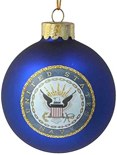 us navy glass ball ornament 80mm - Navy Blue Christmas Ornaments
