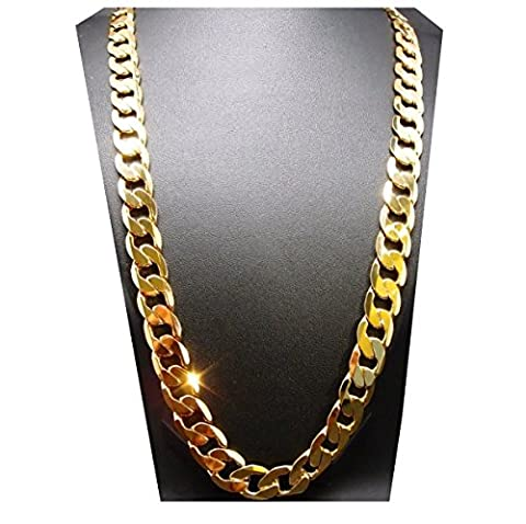 Gold chain necklace 9.1MM 24K Diamond cut Smooth Cuban Link with a. USA made (27) (24k Gold Necklace Solid)