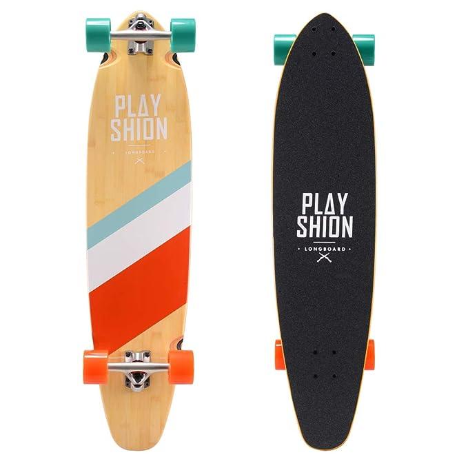 Playshion 38 Inch Kicktail Bamboo Longboard Skateboard Cruiser Complete