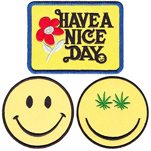 (Iron on Patches Smiley Face Applique Embroidered Patches Have a Nice Day 70s Hippie Retro Boho Badge Embroidery Sew on Patches for Jackets Backpacks Jeans Clothing Hat (3 Pcs))