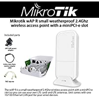 Mikrotik wAP R small weatherproof 2.4Ghz wireless access point with a miniPCI-e slot and LTE antennas