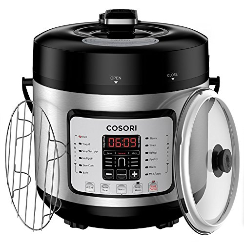 COSORI 7-in-1 Multifunctional Programmable Pressure Cooker, Rice Cooker, Slow Cooker with Glass Lid, Extra Sealing Ring and Recipe Book, 6 Quart/1000W