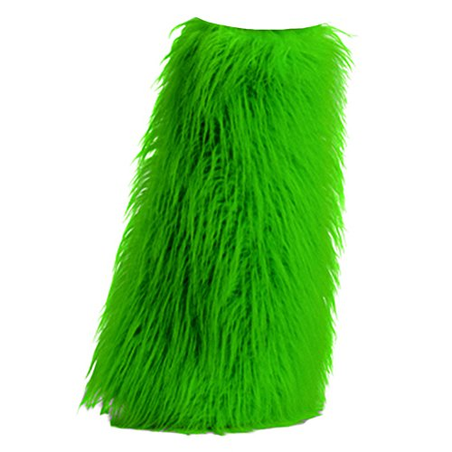 [Womens Boot COVERS Sexy Faux Fur Boot SLEEVE Costumes Accessory Neon Green] (Sexy Halloween Cost)