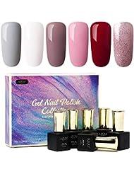 AZUREBEAUTY Gel Nail Polish Set - Nude Series 6 Colors...