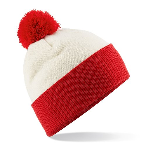 Beechfield Snowstar Duo Two-Tone Beanie Off White/Bright Red ONE
