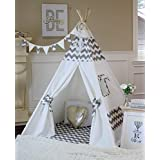 Grey Chevron Teepee from Canada with Floor, Pocket, Poles, LED Light, Flags Banner and Storage Bag, Play Tent, Play House, Kids Room Decor