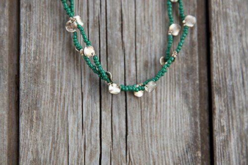 Green Long necklace, Long beaded necklace, Bead necklace, Yoga Beads, Green chain , Long necklace, Chain for summer, Chain to the beach (Ruby Beaded Necklace)