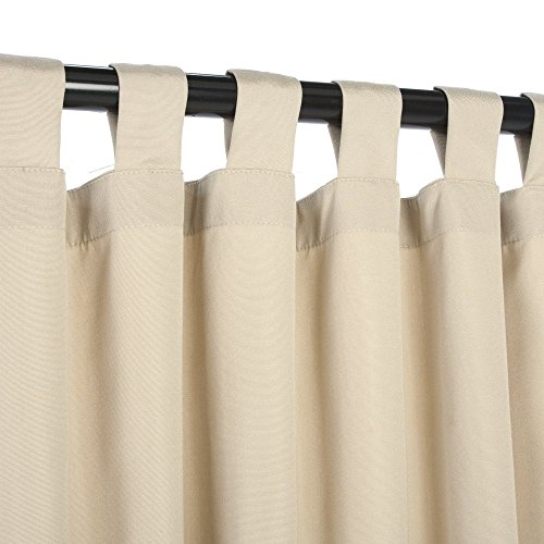 essentials by dfo antique beige sunbrella outdoor curtain with tabs 120 long
