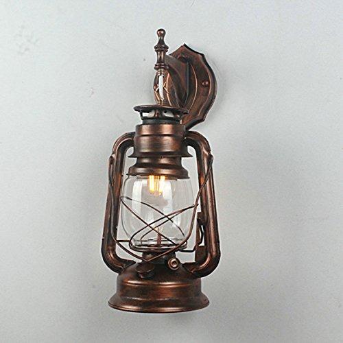 Retro Wrought iron Lantern Wall Lamp Glass in Lampshade Wall Sconces Kerosene Lamps Lighting KO-25410 (Kerosene Lamps For Indoors compare prices)