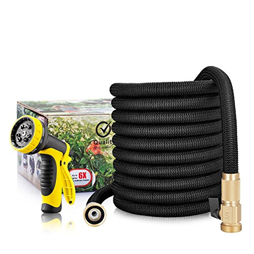 GroHoze Lightweight Expandable Garden Hose with Solid Brass Valve Connector and 10 Pattern Spray Gun – 50FT(15M) Black