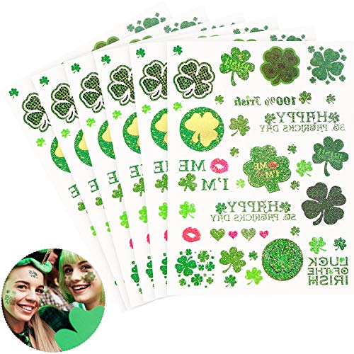 Chuangdi 6 Sheets St. Patrick's Day Tattoo Stickers Irish Temporary Tattoos Glitter Shamrock Stickers for Party Supplies ()