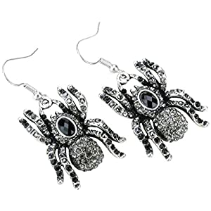 YACQ Women's Spider Dangle Earrings – Lead & Nickle Free – 2 Inches Long – Halloween Costume Accessories Jewelry