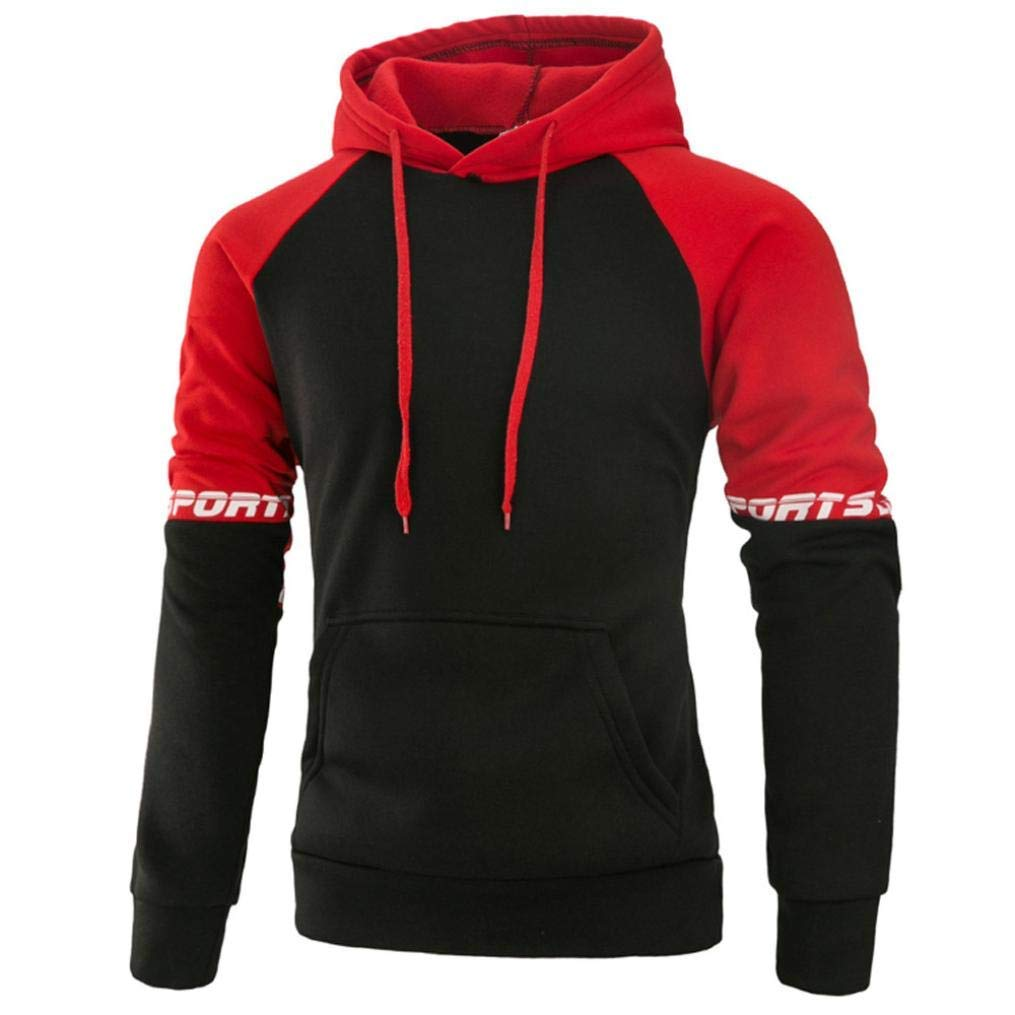 red XXL Men Long Sleeve Patchwork color Winter Lace Fashion Comfort Letter Hoodie Hooded Sweatshirt Tops Jacket Coat Outwear