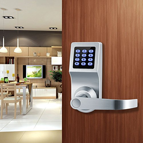 XINDA Smart Door Lock and Deadbolt in Satin Nickel with Keypad, RFID Card, Remote Control for Keyless Entry, Metal Keys Also Included, Ideal Digital Lock for Home, Office, Rentals and Hotels