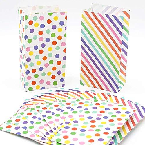 UNIQOOO 72Pcs Rainbow Treat Bags Bulk, Polka Dots and Strips,Small 7x3