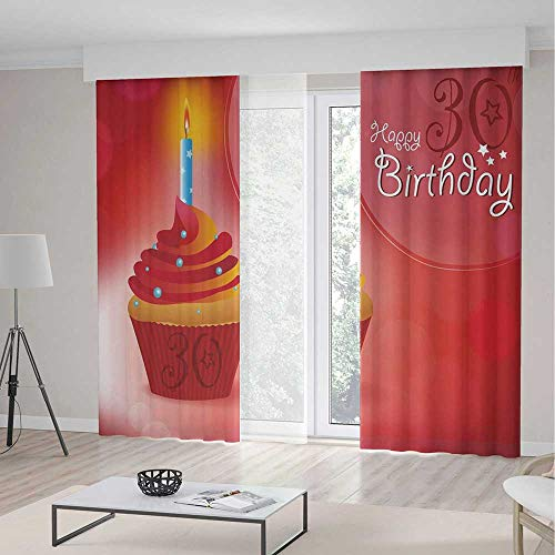 TecBillion Window Curtains,30th Birthday Decorations,Living Room Bedroom Curtain,Cute Cupcake with Candlestick Stars Bokeh Backdrop Romantic,55Wx82L Inches