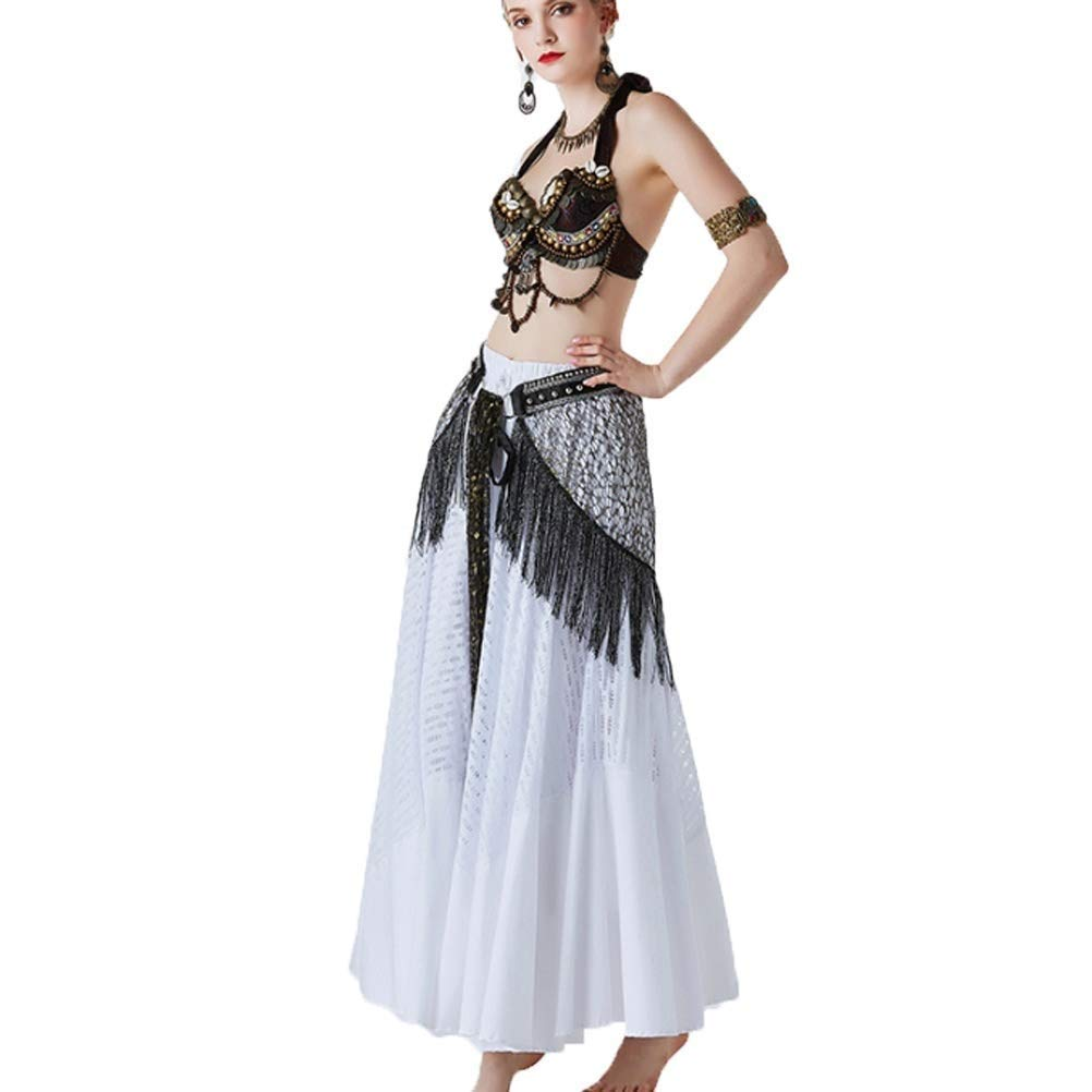 女性のベリーダンス衣装部族パフォーマンススーツレディースクラシックフォークダンス衣装シェルブラ+ウエストタオル+下スカート、3ピース B07Q8VXSKG 白 L l