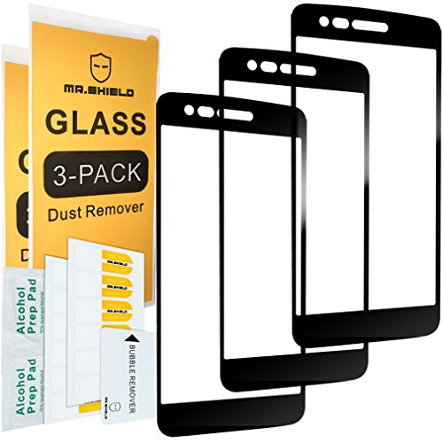 Artists Gorilla - [3-Pack]-Mr.Shield for LG Aristo [Japan Tempered Glass] [9H Hardness] [Full Cover] [Black] Screen Protector with Lifetime Replacement