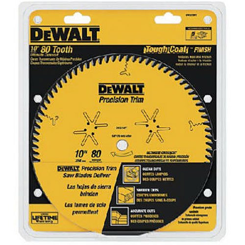 DEWALT DW3218PT 10-Inch 80 Tooth ATB Crosscutting Saw Blade with 5/8-Inch Arbor and Tough Coat Finish - Dewalt Saw Blades 10 Inch