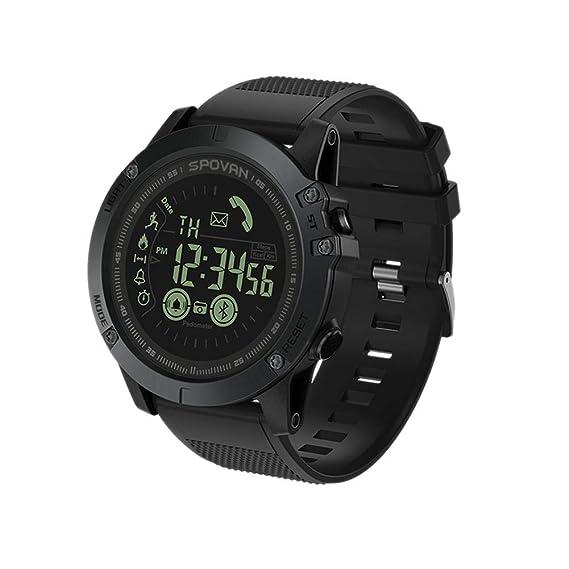 Reloj Conectado, Smartwatch Bluetooth con Reloj Elegante de la cámara podómetro con Pantalla LED Reloj Deportivo Resistente al Agua para Android iOS Hombre ...