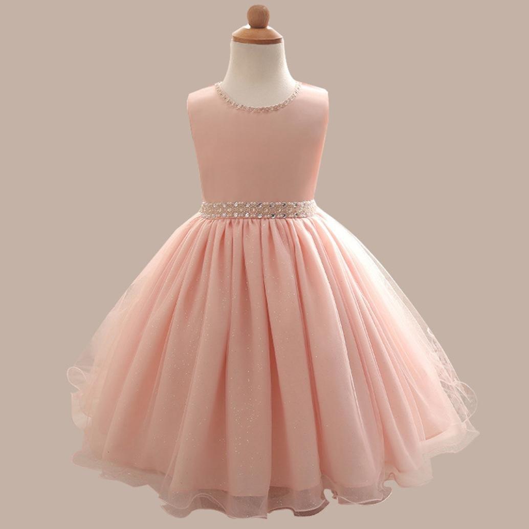 f06682af70f7 Amazon.com  Goodlock Children Kids Fashion Dress Girl Sleeveless Beaded  Dress Princess Formal Pageant Holiday Wedding Bridesmaid Dress  Clothing